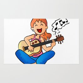 girl playing guitar cartoon Rug
