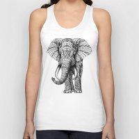 new york skyline Tank Tops featuring Ornate Elephant by BIOWORKZ