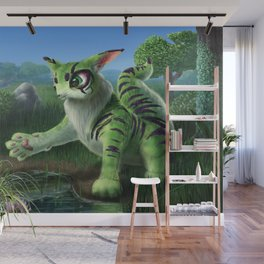 Fluffy Green Cat-Like Creature Wall Mural