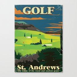 Golf St. Andrews vintage commercial poster print. Canvas Print