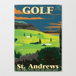Golf St. Andrews vintage commercial poster print. Canvas Print