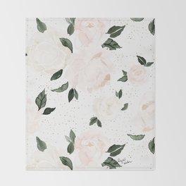 vintage blush floral Throw Blanket
