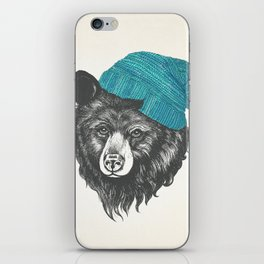 Zissou the bear in blue iPhone Skin