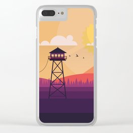 VECTOR ART LANDSCAPE WITH FIRE LOOKOUT TOWER Clear iPhone Case