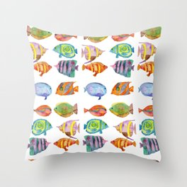 Watercolor Colorful Tropical Fish Throw Pillow