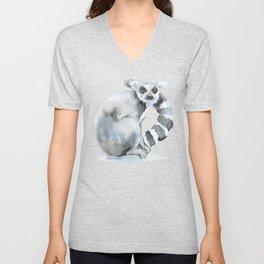 Ring-tailed Lemur Watercolor Unisex V-Neck