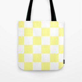 Large Checkered - White and Pastel Yellow Tote Bag