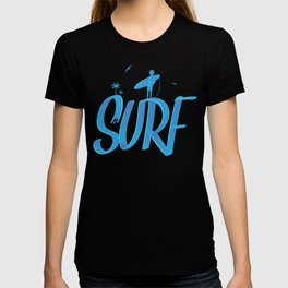 surf lettering with palms and surfer , 3d style T-shirt