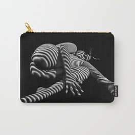 7841-KMA BW Striped Fine Art Nude Woman Emerging From Fetal Position Carry-All Pouch