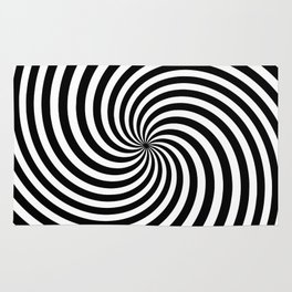 Black And White Op Art Spiral Rug