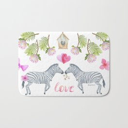 Groovy Kind Of Zebra Love - Bagaceous Bath Mat