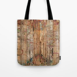 Reclaimed Wood Map Tote Bag