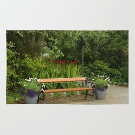 Bench and Flowers Rug
