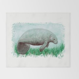 """The Manatee"" by Amber Marine ~ Watercolor Painting, (Copyright 2015) Throw Blanket"
