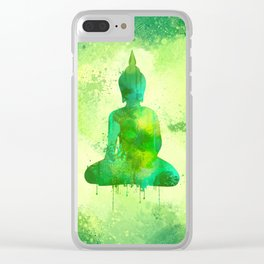 Green Watercolor Buddha Painting Clear iPhone Case