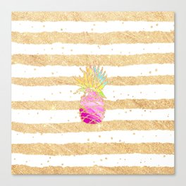 Modern pink watercolor pineapple faux gold glitter stripes Canvas Print