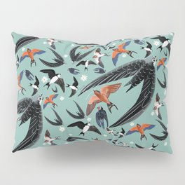 Swallows Martins and Swift pattern Turquoise Pillow Sham