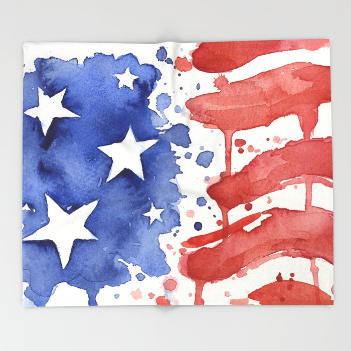 American Flag Watercolor Abstract Stars And Stripes Throw Blanket By Extraordinary Stars And Stripes Throw Blanket