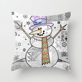 Coloured Snowman Throw Pillow