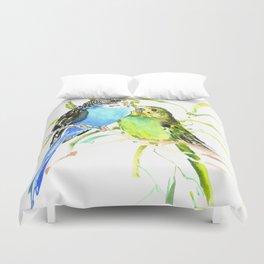 Budgies, love bird green blue decor Duvet Cover