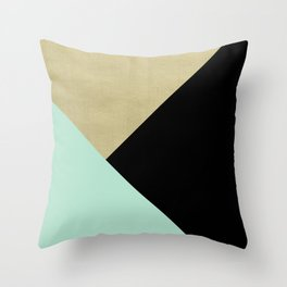 Gold meets Mint & Black Geometric #1 #minimal #decor #art #society6 Throw Pillow