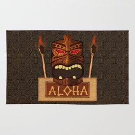 Vintage Wood Tiki Aloha Rug