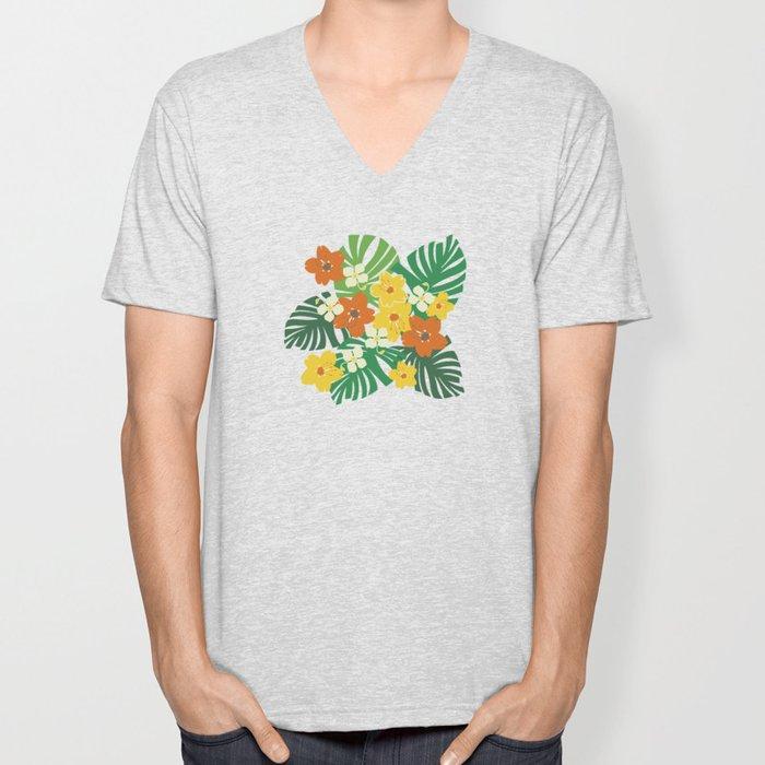 Limahuli Garden Hawaiian Floral Design Unisex V-Neck