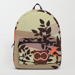 Quiet and peaceful night, cute owl snooze on the tree Backpack