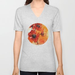 Red Poppy Flowers Watercolor Painting Unisex V-Neck