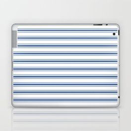 Mattress Ticking Wide Horizontal Stripe in Dark Blue and White Laptop & iPad Skin