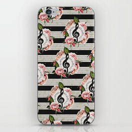 Musical Treble Clef with Watercolor Roses Pattern iPhone Skin