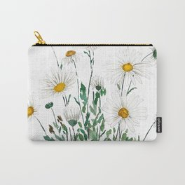 white Margaret daisy watercolor Carry-All Pouch