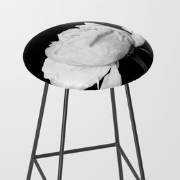 White Peony Black Background Bar Stool