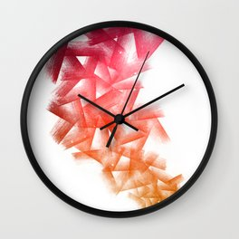Red Cubical Abstraction Wall Clock