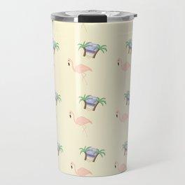 Flamingo and palm trees Travel Mug