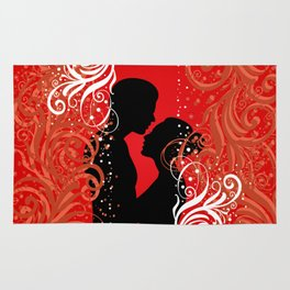 Boy and girl with ornamental background Rug