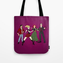Cartoony Buffy and the gang Tote Bag