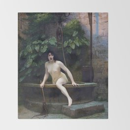 TRUTH COMING OUT OF HER WELL TO SHAME MANKIND - JEAN-LEON GEROME Throw Blanket