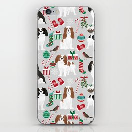 Cavalier King Charles Spaniel christmas pattern gift for dog lover pet friendly pet portrait iPhone Skin