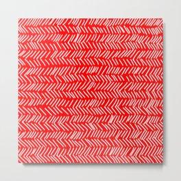 Scarlet Herringbone Lines Metal Print