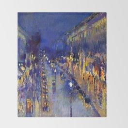 Pissarro Montmartre Boulevard Night Throw Blanket