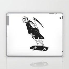 Grim reaper skater - funny skeleton - gothic monster - black and white Laptop & iPad Skin