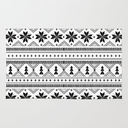 Fair Isle christmas pattern snowflakes camping winter trees christmas tree minimal black and white Rug