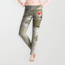 Jakuchu Phoenix with Hemp Pattern Background Leggings