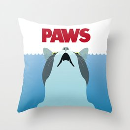 PAWS - Spoof movie poster inspired by classic cult horror film JAWS Throw Pillow