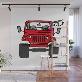 Jeep Wave Girl - Red Wall Mural