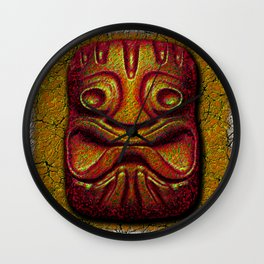 Tiki Tile Glazed Clay Wall Clock