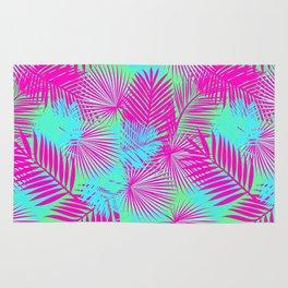 Neon Pink & Blue Tropical Print Rug