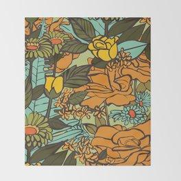 retro garden Throw Blanket