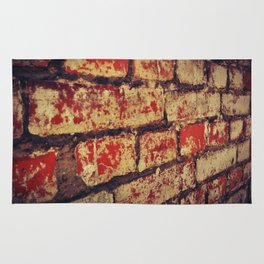 red and white, weathered, Brick Wall Rug